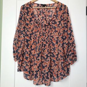 Torrid 2X Floral Sheer Blouse Navy